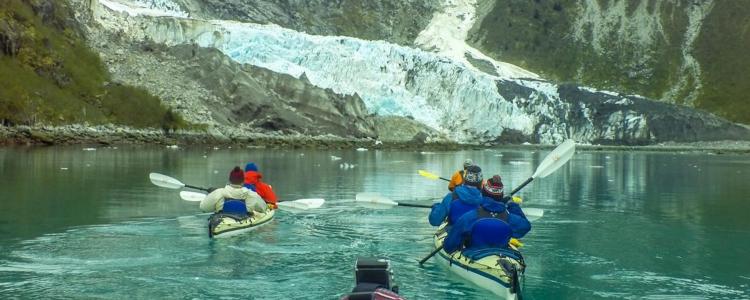 Kayakers in Northwestern Fjords