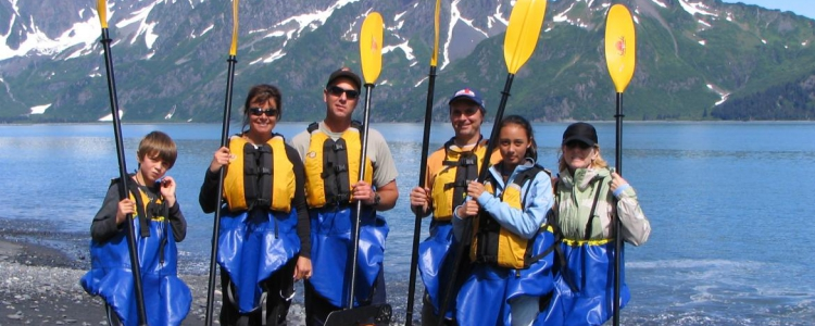 Paddlers in Resurrection Bay